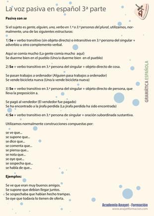 La voz pasiva en español 3ª Parte