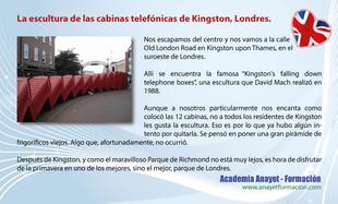 La escultura de las cabinas telefónicas de Kingston, Londres.