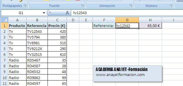 Excel - La función buscarv