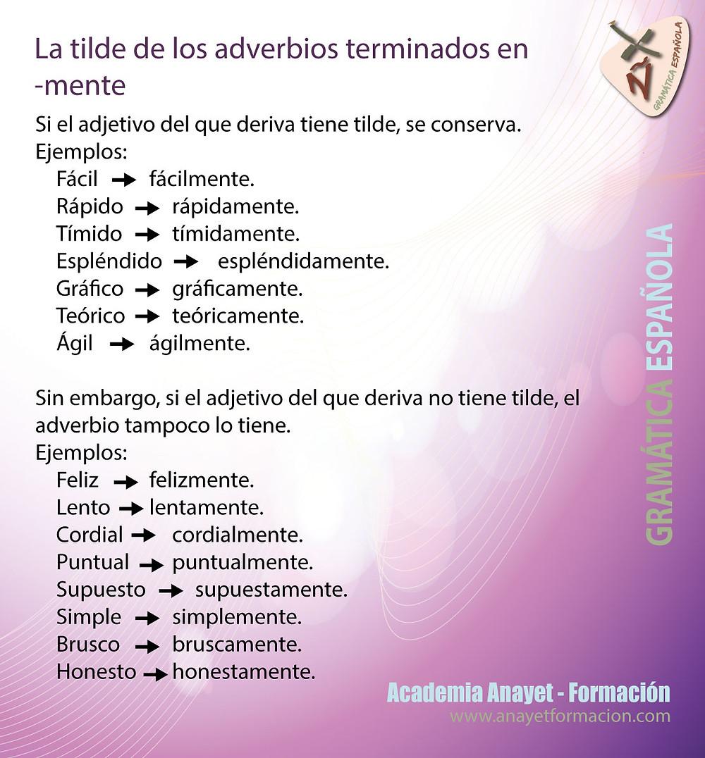 La tilde de los adverbios terminados en -mente. Gramática española