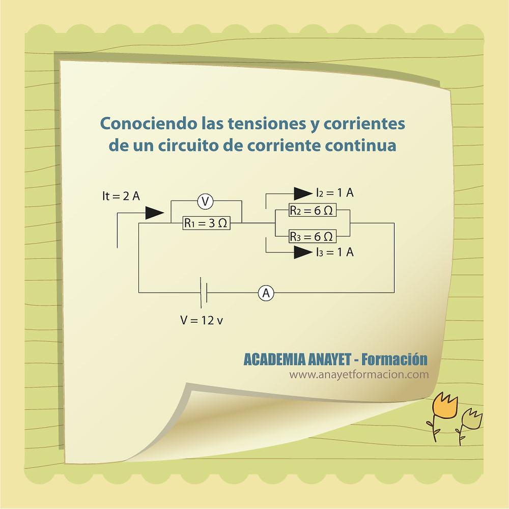 Conociendo las tensiones y corrientes de un circuito de corriente continua. ELECTROTECNIA