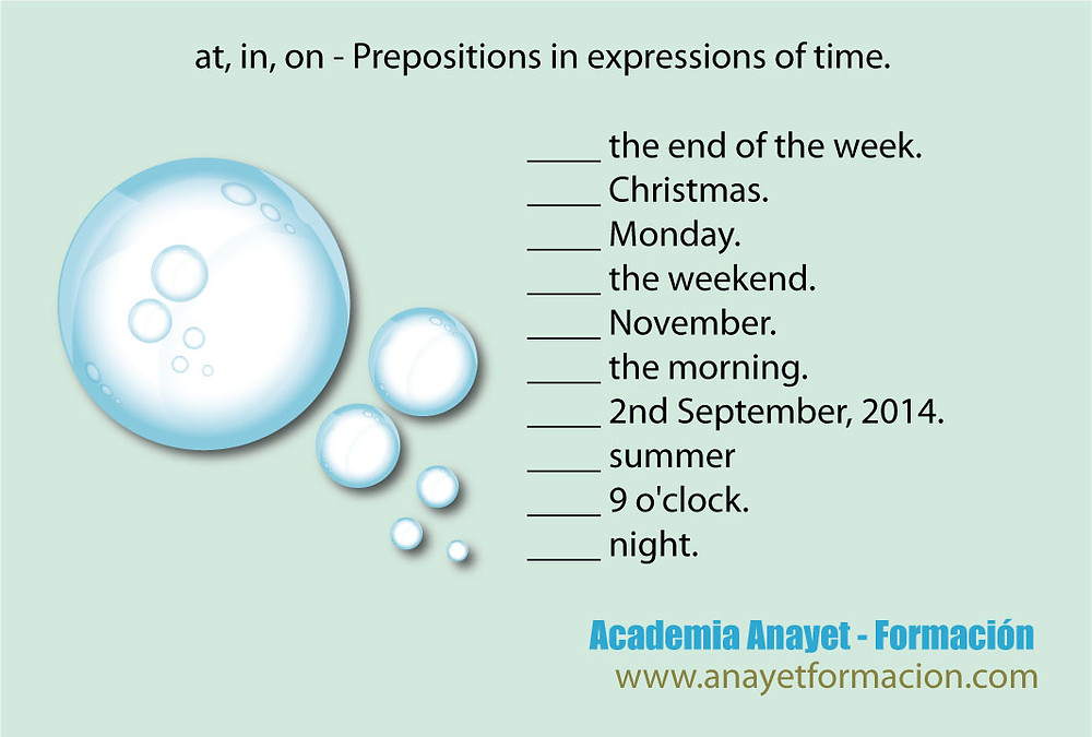 at, in, on - Prepositions in expressions of time.