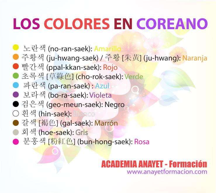 Los colores en coreano