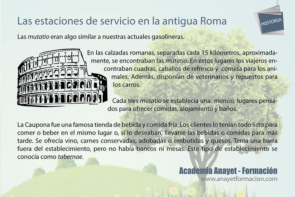 Las estaciones de servicio en la antigua Roma
