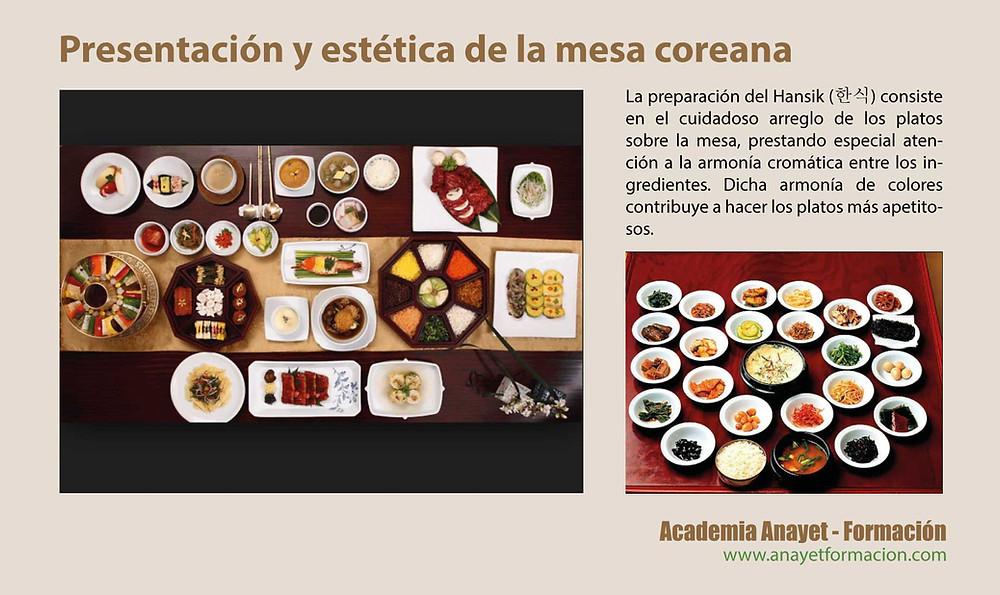 Presentación y estética de la mesa coreana