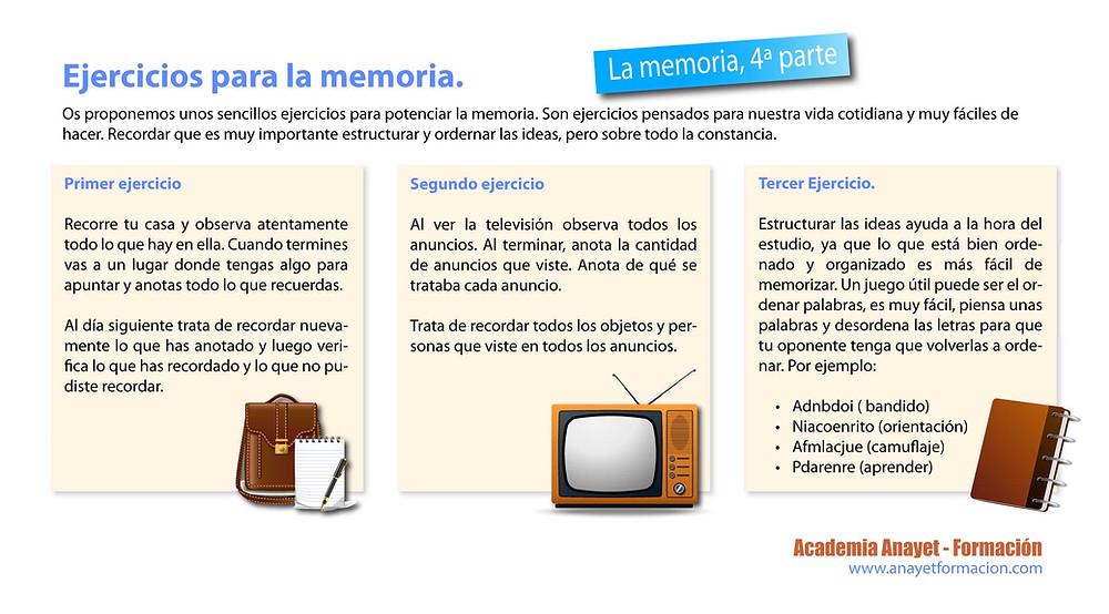 Técnicas de estudio. Ejercicios para la memoria.