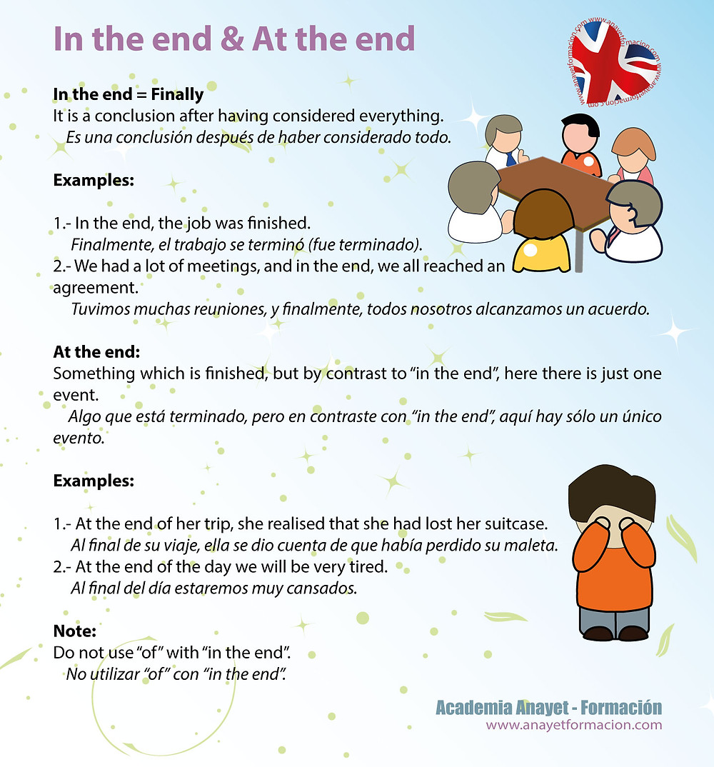 In the end & At the end. Inglés