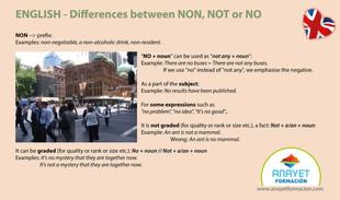 Diferencias entre NON, NOT y NO - Inglés