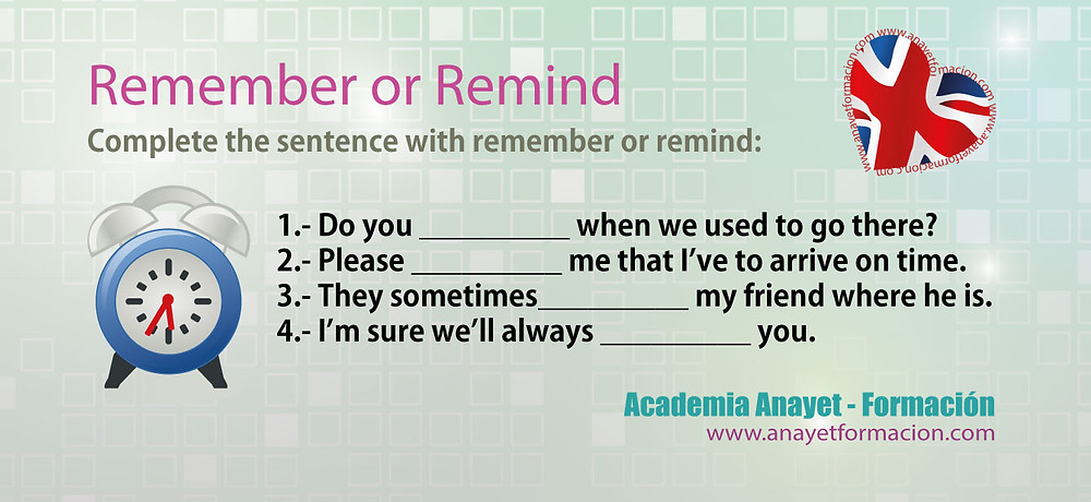 Remember and Remind - Inglés