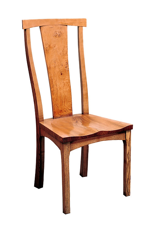 BC75CL Frame side chair with solid seat and Pippy Oak splat.
