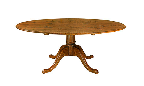 HL372CL Large pedestal table with hand planed/scraped top