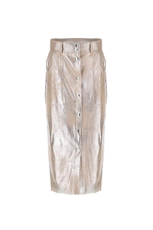 Gianna Metalic Seude Effect Midi Skirt