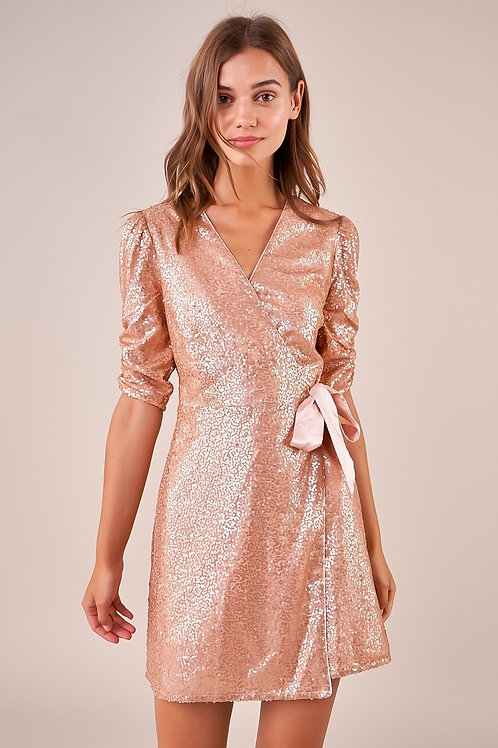 Got The Moves Sequin Wrap Dress