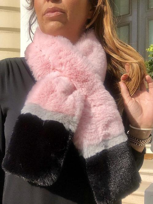 Winnie Faux Fur Scarf in Pink