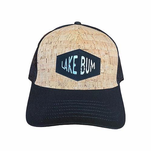 """Lake Bum"" Cork-Black Trucker Hat"
