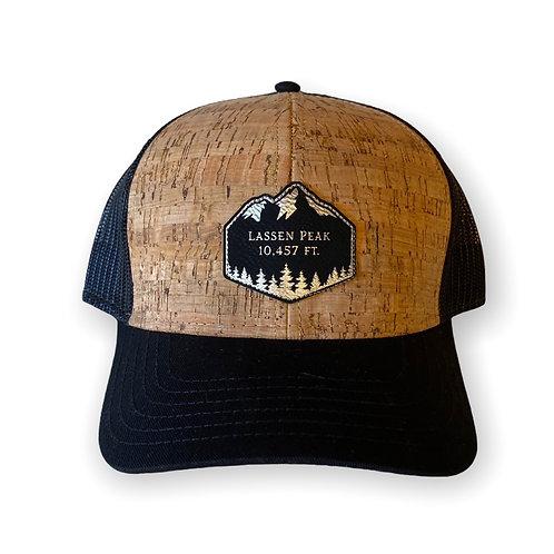 """Lassen Peak"" Cork-Black Trucker Hat"