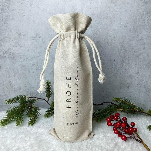 """Flaschenbeutel mit Druck """"Frohe Weihnachten"""" aus Leinen Personalisiert"""