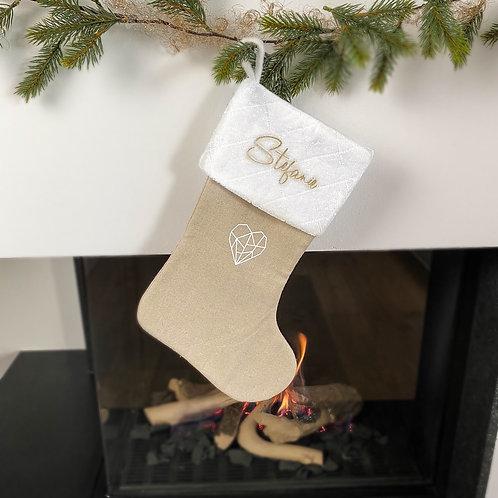 Weihnachtsstrumpf Weiß/Beige Personalisiert