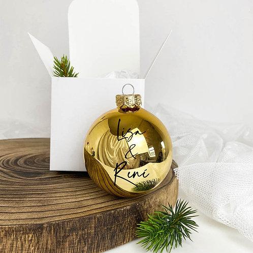"Weihnachtskugel Personalisiert aus Glas ""Name & Name"""