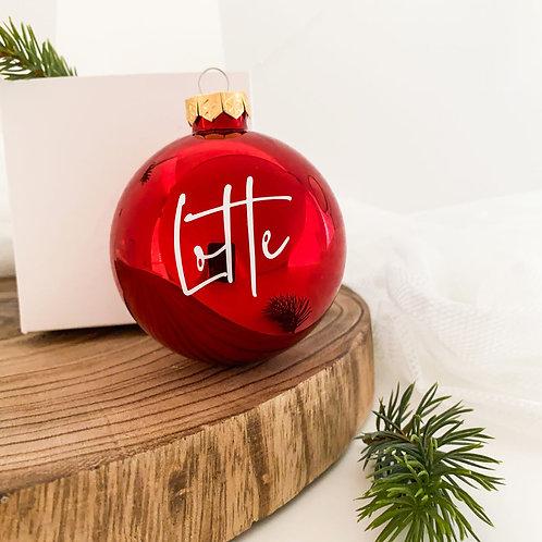 """Weihnachtskugel Personalisiert aus Glas """"Name"""""""