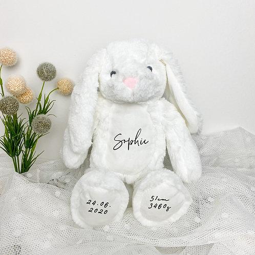 Kuscheltier Hase Weiß Personalisiert mit Name & Geburtsdaten