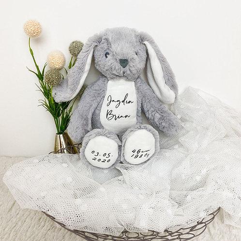 Kuscheltier Hase Grau Personalisiert mit Name & Geburtsdaten