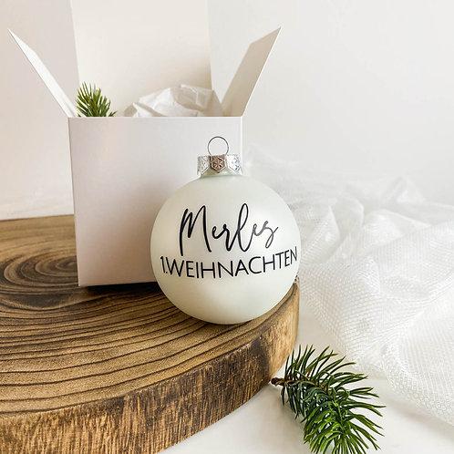"""Weihnachtskugel Personalisiert aus Glas """"Name & 1. Weihnachten"""""""