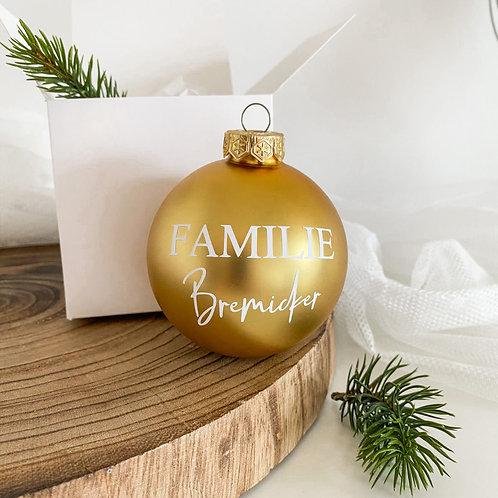 """Weihnachtskugel Personalisiert aus Glas """"Familie & Nachname"""""""