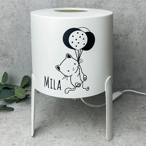Aufkleber Katze für IKEA Lampe TVÄRS - Personalisiert mit Namen