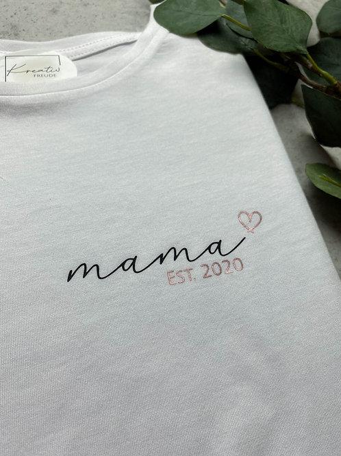 "T-Shirt ""Mama EST."" Mehrfarbig Personalisiert"