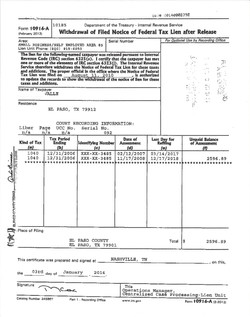 Withdrawal of Released Tax Lien