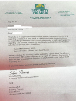 Collection Agency Deletion Letter