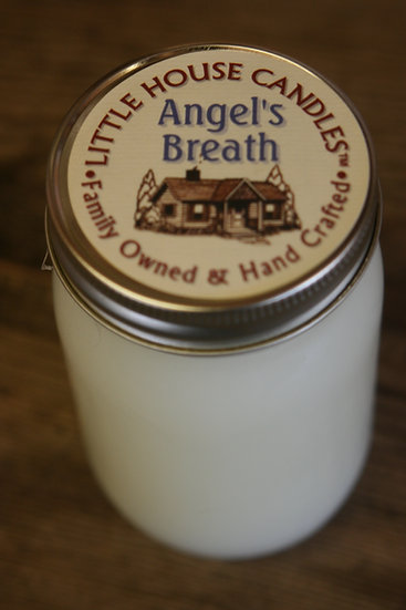 Angel's Breath 13 Oz  Pint - Heavily Scented Little House Candle Jar
