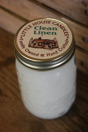 Clean Linen 14 Oz. Pint Mason Candle