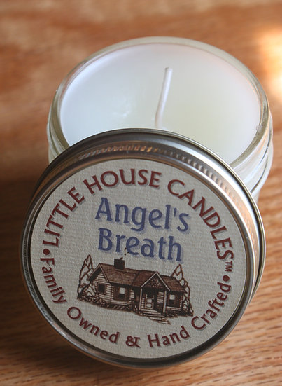 Angel's Breath - 3 Oz. Little House Candle - Heavily Scented - Jelly Jar