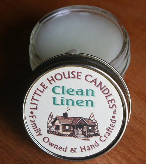 Clean Linen - 3 Oz  Little House Candle Quilted Jelly Jar