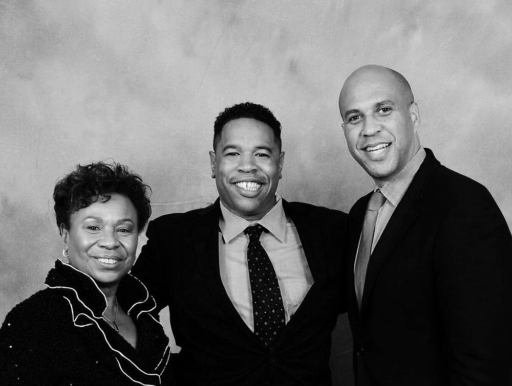 Congresswomen Barbara Lee (left), 4&20 Blackbirds CEO, Chip Moore (center), and Senator Corey Booker (right) of New Jersey.