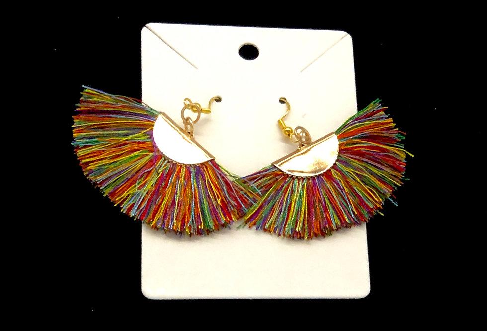 Multi-colored Fan Earring