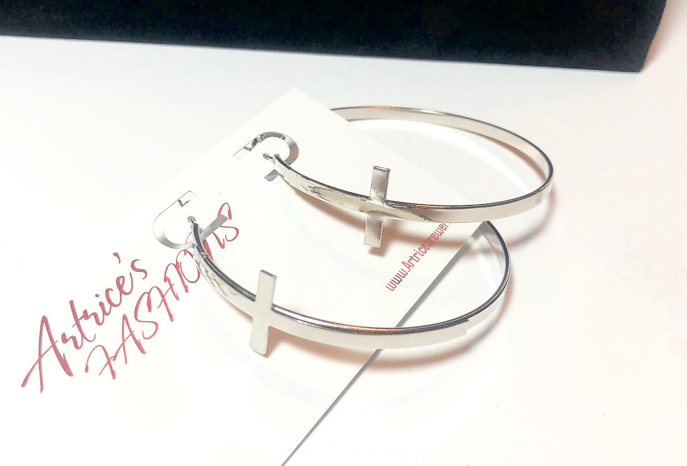 Circle hoop cross earrings