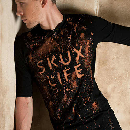 Mens bleach splatter SKUX LIFE t shirt from organic cotton - Industrial Tshirt
