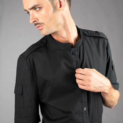 Mens futuristic short sleeve dress shirt with epaulets and sleeve pockets