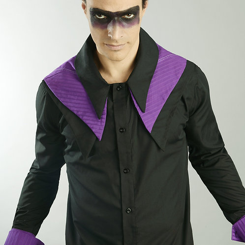 Avant Garde Dress Shirt - Mens Black Dress Shirt - Purple Collar Shirt