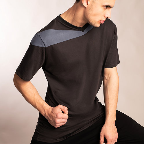 Mens futuristic charcoal gray shirt with blue asymmetrical accent