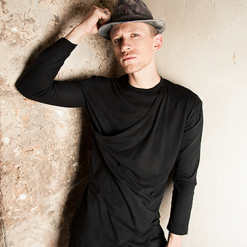 Mens black double layered fashionable tunic from organic cotton