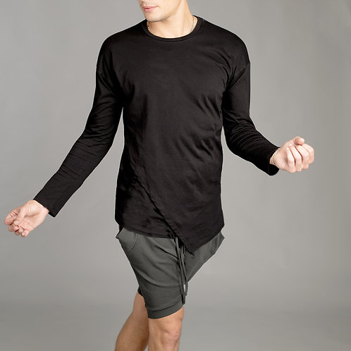 Mens Long Sleeve Black Shirt - Double layered front - Futuristic Shirt