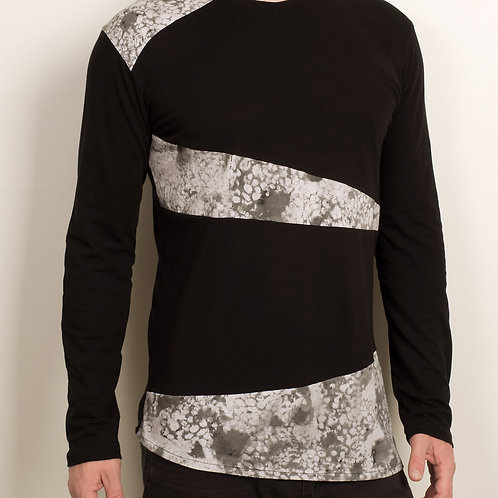 Mens dark futuristic WhatIsIt shirt with asymmetrical patches from organic cott