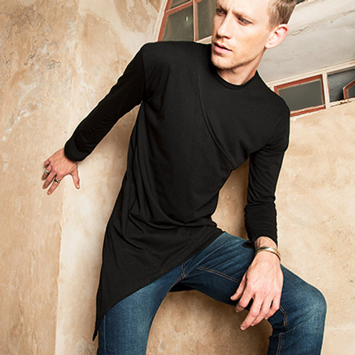 Mens sci fi fashion tunic from black organic cotton - Industrial fashion