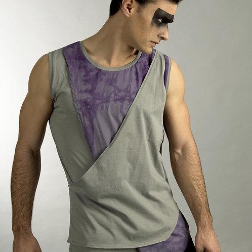 Mens Asymmetrical Shirt - Mens Sleeveless Shirt - Mens Sleeveless Tank - Purple