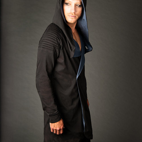 Rennes post apocalyptic self lined gray hooded jacket with 4 buttons 2 pockets