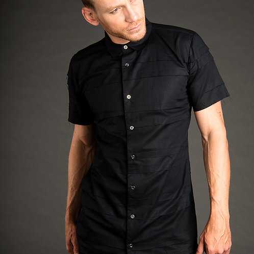 Worth futuristic post apocalyptic dress shirt with raw edges and stripes